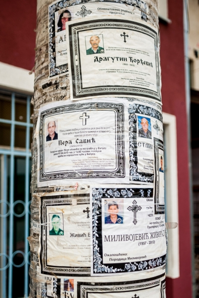 Obituaries on a lamppost at the Serbian enclave of Gracanica
